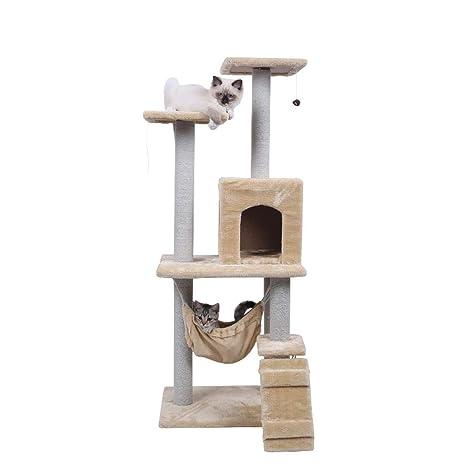 NYJ Gato Saltando Juguete con Escalera para rascar el árbol de Escalada de Madera para Gato