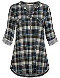 Baikea Oversize Tops for Women, Ladies Retro Style Mandarin Collar Rolled Up 3/4 Sleeve Tunics Feminine Buffalo Plaid Shirt Roomy Casual Extra Large Blouses Zipper Tartan Outfit Blue XL