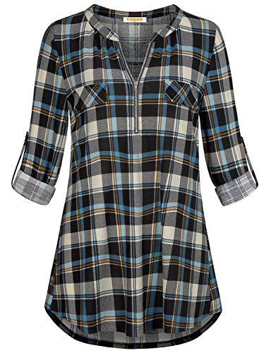 (Baikea Long Sleeve Tunics Top for Women, Female Cute Zipper Front V-Neck Plaid Shirts with Fake Pocket Vibrant Blue Grid Retro Checkered Blouse Work Wear Blue M)