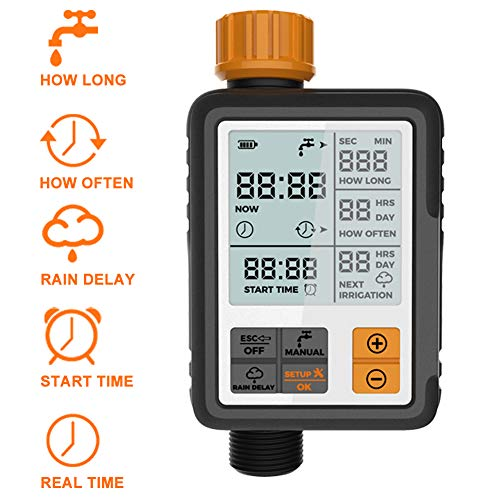 Kazeila Sprinkler Timer Digital Programmable Garden Lawn Hose Faucet Watering Timer Irrigation System Controller/Child Lock Mode/Auto&Manual Mode/Rain Delay/3 Inches Large Screen/IP65 Waterproof