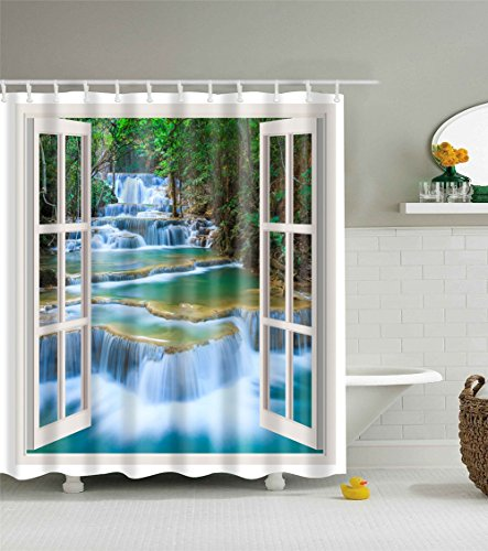 Oriental Pearl Bright Thick Durable 3D Shower Curtain wit...