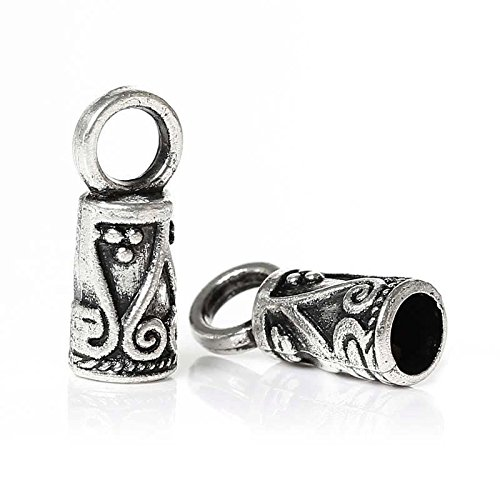 20 Bead Caps Antique Silver Plated Necklace End Tip Perfect for Necklace Jewelry Making Supply, Pendant, Bracelet, DIY Crafting and Other by Wholesale ()