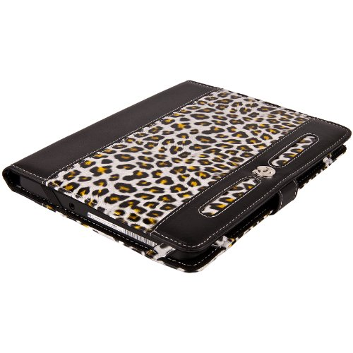Amazon Kindle Fire Tablet 7 Inch (Newest Model , 4th Generation) Executive Portfolio Black & White Leopard Print Cover Carrying Case