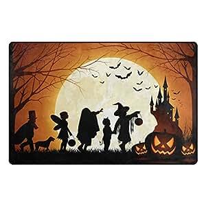 Florence Halloween Moonlight Smile Pumpkin Area Rug Non-Slip Doormats Carpet Floor Mat for Living Room Bedroom 60 x 39 inches