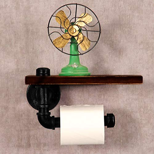 (BEAMNOVA Toilet Paper Holder Wall Mount Industrial Rustic Pipe Design with Wood Storage Rack Towel Holder Organizer)