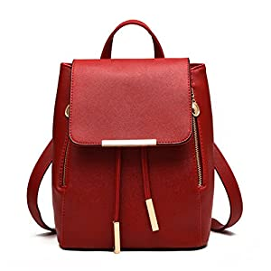 teenage backpack for girls Vintage Waterproof leather school bags for girls black women backpacks lady Wine red