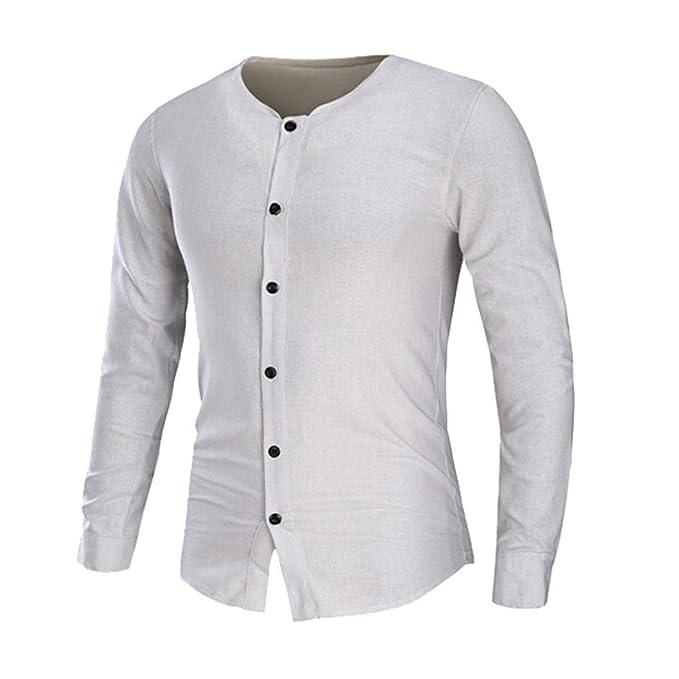 Camisa de Manga Larga Delgada de los Hombres de la Camisa del botón Camisa de la Blusa de la Camisa del Color sólido de Internet: Amazon.es: Ropa y ...