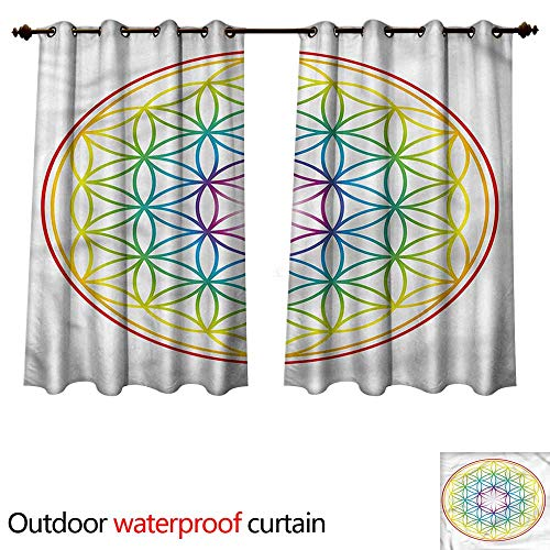 - cobeDecor Colorful Outdoor Curtain for Patio Radiant Flower of Life W72 x L72(183cm x 183cm)