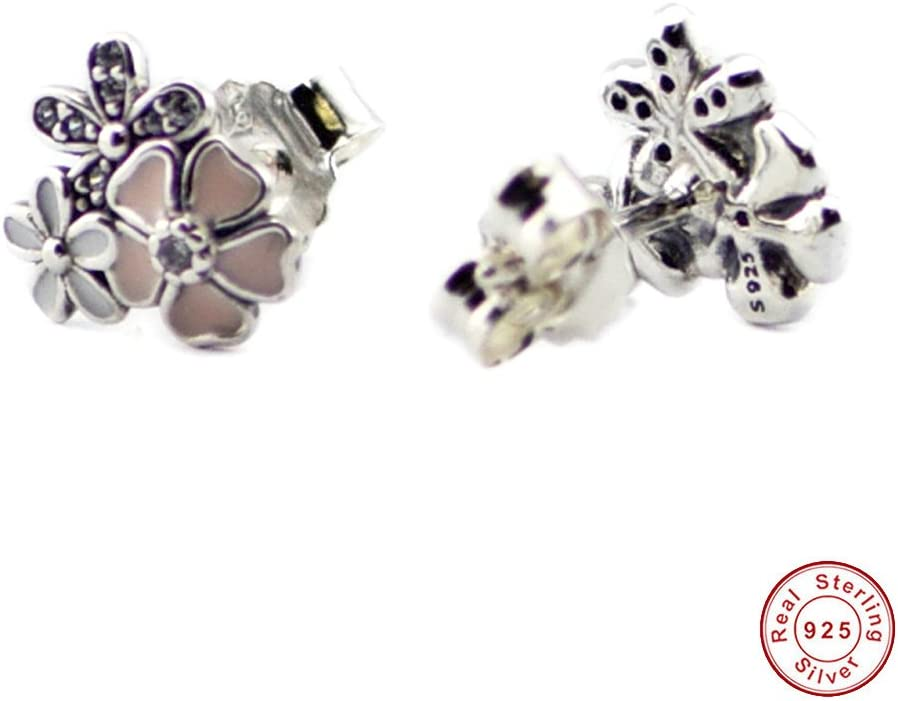 Mixed Enamels /& Clear CZ Jewelry MOCCI Compatible With European Style Jewelry 925 Sterling Silver Stud Earrings Poetic Blooms
