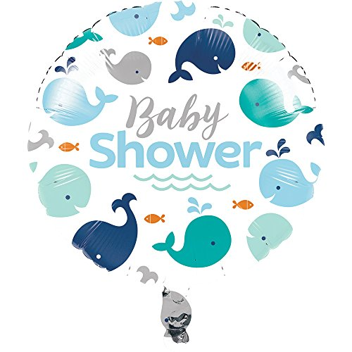 (Creative Converting 324426 Blue Whale Baby Shower Foil Balloon 18