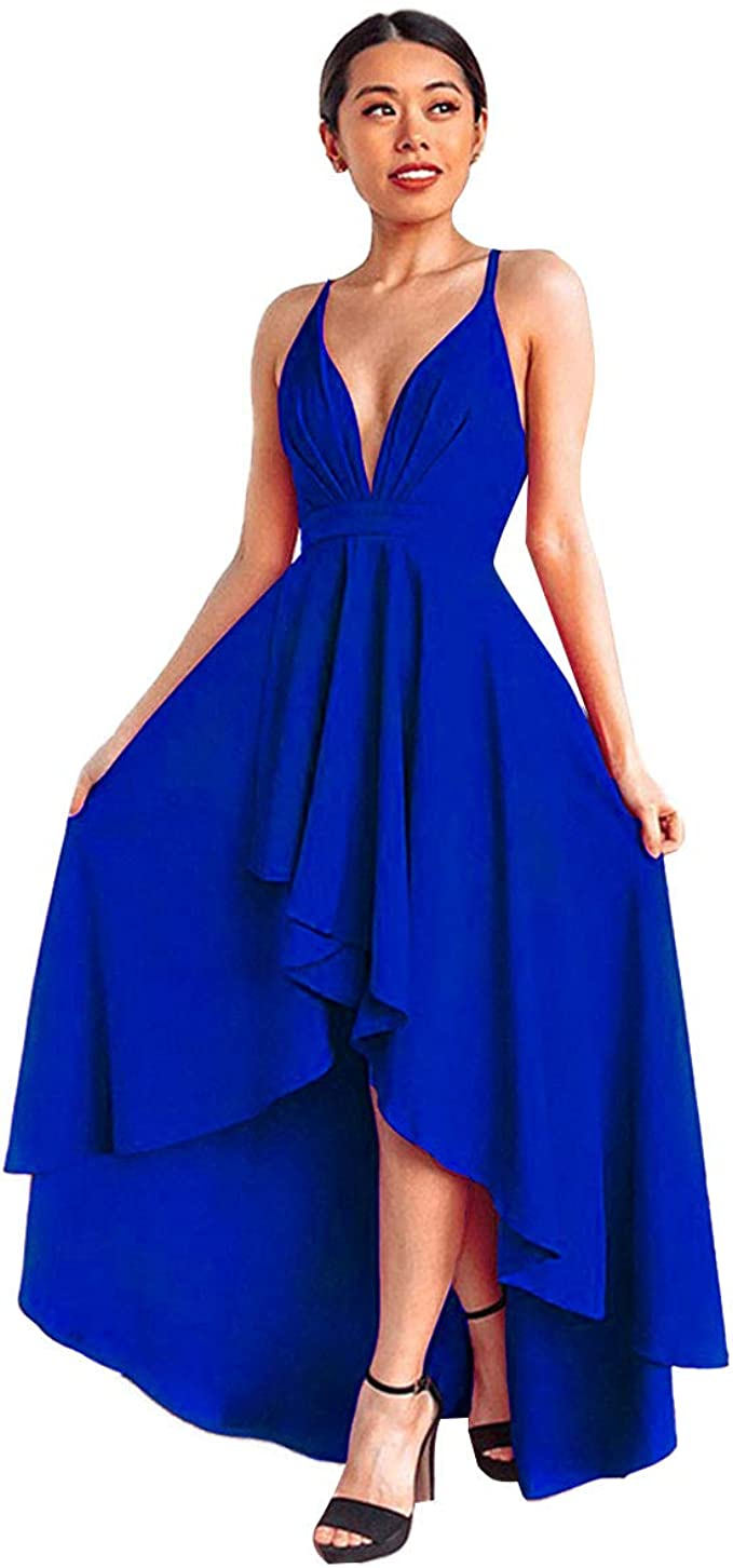 IMEKIS Damen Elegant Abendkleid Ärmellos V-Ausschnitt Rückenfrei  Asymmetrisches Kleid Sexy Cocktailkleid Bandage Schnürung Partykleid  Hochzeit