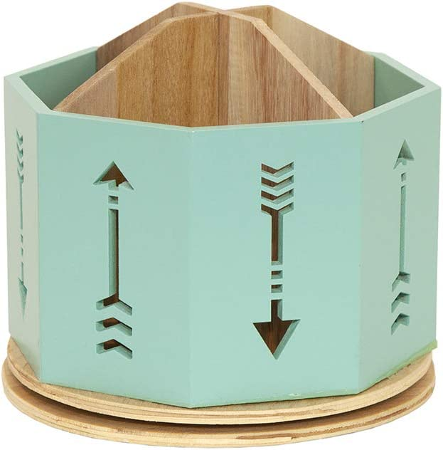 Spinning Desktop Stationary Organizer – Decorative Wooden Rotating Pen and Pencil Cup – 4 Compartment Teal Desk and Table Top Office Supplies Station with Arrow Design - by Designstyles