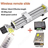 Wireless Remote Control Electric Linear Stage Actuator Travel Length 300mm Ballscrew 1605 Double Optical Axis Linear Rail Guide Slide Stage C7 with Nema23 Motor for DIY CNC Router Controller
