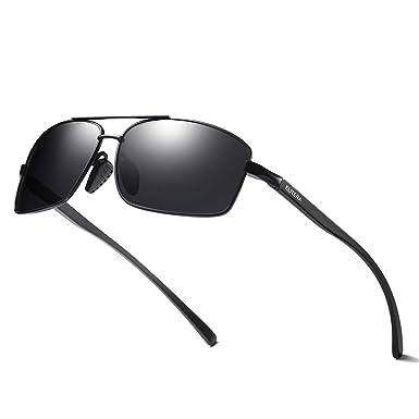 931021fff9 ELITERA Square Polarized Sunglasses For Men Aluminum Magnesium Lightweight  Frame UV400 E2458 (Black&Grey)