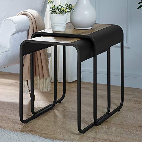 WE Furniture AZF18CURWSTRO Nesting Tables, 2, Rustic Oak/Black