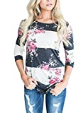 Asvivid Women's Round Neck Floral Print 3 4 Sleeve Tunic Blouse Casual Striped Tunic Tops X-Large Pink