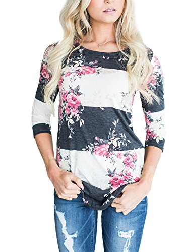 Asvivid Women's Round Neck Floral Print 3 4 Sleeve Tunic Blouse Casual Striped Tunic Tops X-Large Pink by Asvivid