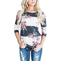LOSRLY  Mujeres Floral Impreso Tops 3 4 manga camisas cuello redondo blusa Plus Size