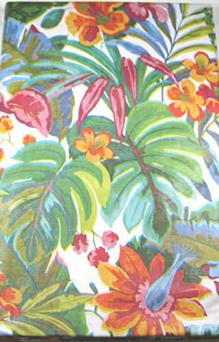 Summer Fun Island Elegant Tropical Flowers Flannel Back Vinyl Umbrella Tablecloths with Hole and Zipper-Assorted Sizes (52 x 70 Oblong)