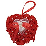 Arlai 7.57.1 inch Wedding Ring Pillow Heart Box Red Romantic Rose Flowers with Ribbon Rhinestone Wedding Jewelry Case