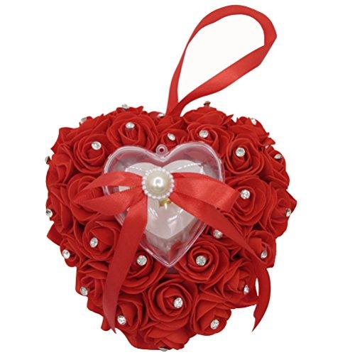(Arlai Wedding Ring Pillow Heart Box Red Romantic Rose Flowers Wedding Jewelry)
