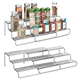 mDesign Adjustable, Expandable Kitchen Wire Metal Storage Cabinet, Cupboard, Food Pantry, Shelf Organizer Spice Bottle Rack Holder - 3 Level Storage - Up to 25'' Wide, 2 Pack - Silver