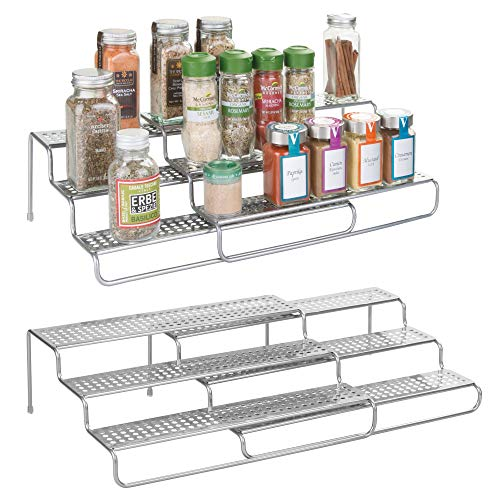 mDesign Adjustable, Expandable Kitchen Wire Metal Storage Cabinet, Cupboard, Food Pantry, Shelf Organizer Spice Bottle Rack Holder - 3 Level Storage - Up to 25'' Wide, 2 Pack - Silver by mDesign