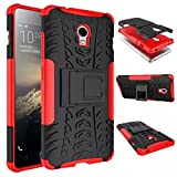 "ANGELLA-M Case for Lenovo Vibe P1 (5.5"") - Dual Layer Shockproof Protective Case - Detachable 2in1 Tactical Hybrid Armor with Kickstand Cover [Red]"