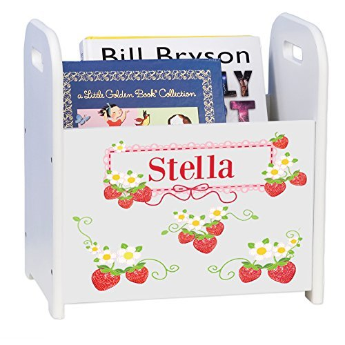 MyBambino Personalized Strawberries White Book Caddy and Rack