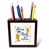 3dRose Doreen Erhardt Christmas Collection - Christmas Christian Born is the King Gold and Blue Holiday - 5 inch tile pen holder (ph_262625_1)