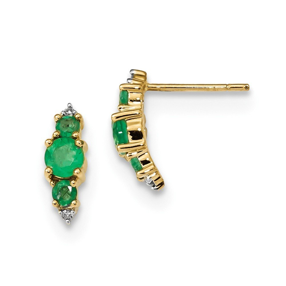 4.14mm 14k Gold With Emerald and Diamond Polished Post Earrings