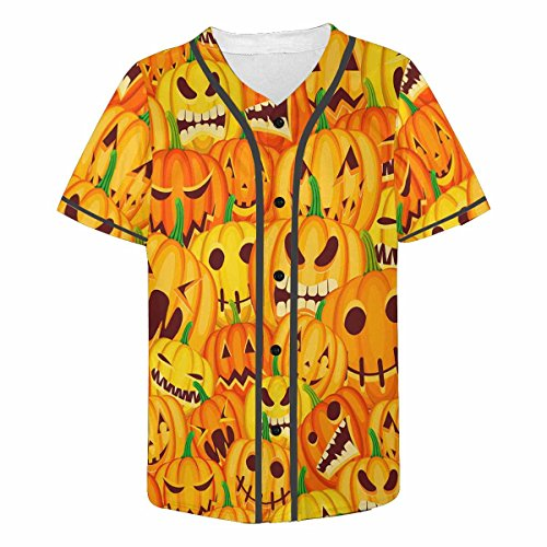InterestPrint Men's Lightweight Short-Sleeve T-Shirt with Print Halloween Jack O Lantern Pumpkins 2XL