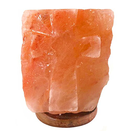 Homipooty Himalayan Crystal Salt Lamp Natural Air Purifier Sculpted Cross with Genuine Neem Wood Base, Dimmable Switch, (Sculpted Halloween Candles)
