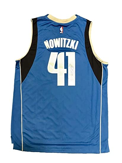 save off c73fc d0625 Dirk Nowitzki Dallas Mavericks Away Blue Autographed Signed ...