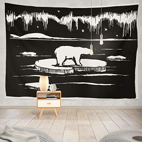 Darkchocl Polar-Lights Decorative Tapestry Polar Bear Arctic Ice Northern Animal for Bedroom Living Kids Girls Boys Room Wall Hanging Tapestry 100% Polyester 80''L x 60''W