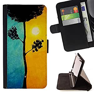 Yellow Blue Tree Meaning Sun Painting - Painting Art Smile Face Style Design PU Leather Flip Stand Case Cover FOR HTC DESIRE 816 @ The Smurfs