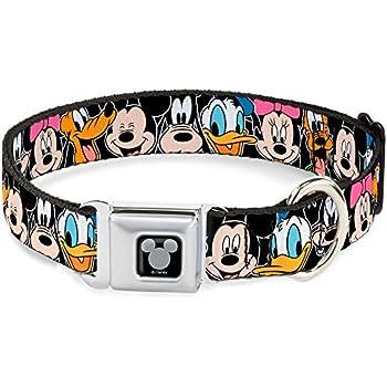 Buckle-Down Seatbelt Buckle Dog Collar - Classic Disney Character Faces Black - 1
