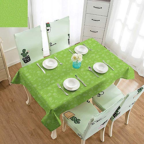 (DILITECK Washable Table Cloth Green Doodle Style Tulip Flowers with Swirled Twigs and Leaves Blossoming Nature Party W52 xL70 Lime Green White)