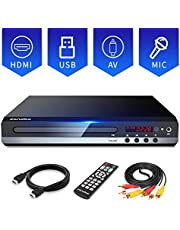 Sandoo DVD Player for TV with HDMI Full HD 1080P, Multi-format Region Free DVD CD/Disc Player, USB/MIC Input for TV Connection, Built-in PAL/NTSC System, HDMI Cable Included, Coaxial Port&Remote Contr