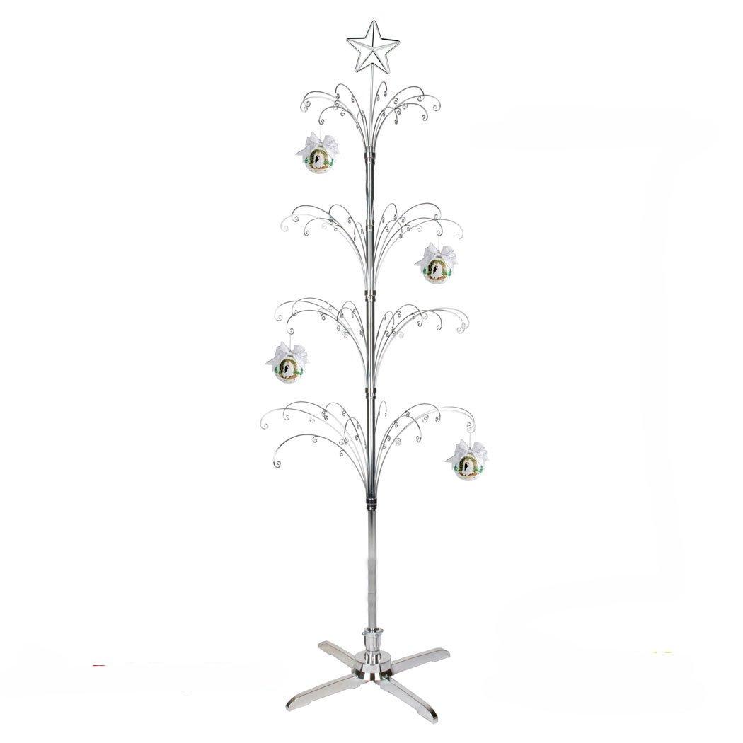 HOHIYA Metal Ornament Christmas Display Tree Rotating Stand 90 Hooks 74inch(Silver) by HOHIYA
