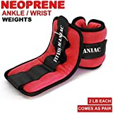 FITNESS MANIAC Wrist Weights and Ankle Weights for Women Adjustable Strap Fitness Running Walking Exercise Resistance Training Toning 2 lbs x 2 Pairs Neoprene Material