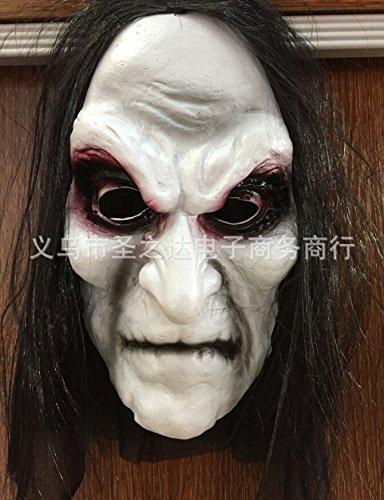 Qupida Halloween Costume Party Prank Costume Blooding Eye Long Hair Cosplay Ghost Mask]()