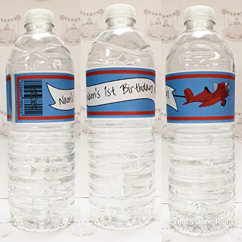 Airplane Travel Water Bottle Labels Wrapper Time Flies Up and Away Aviator Baby Shower Birthday Party 1st Birthday Set of 12