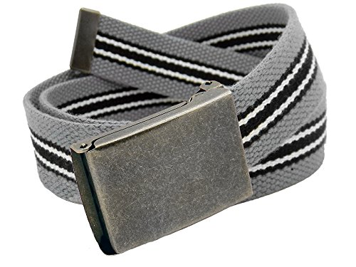Boys School Uniform Distressed Silver Flip Top Military Belt Buckle with Canvas Web Belt Large Gray Black White Stripe