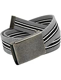 Men's Distressed Silver Flip Top Military Belt Buckle with Canvas Web Belt