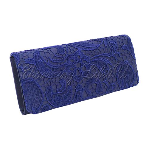 Post Bag UK Blue 1 Evening Navy Party Handbag Ladies Wedding Floral Prom New Flower Envelope Wocharm TM Clutch Brand Satin aZwAqC
