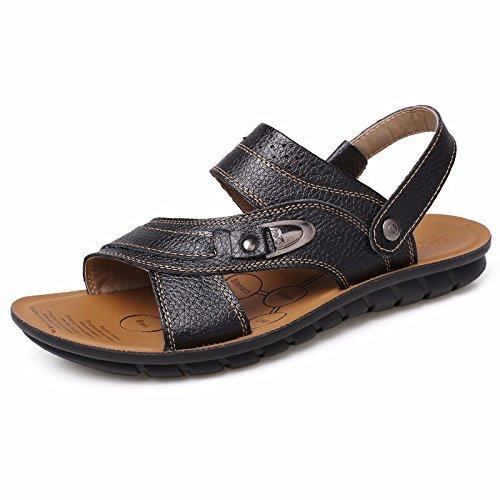 Do Real Cn Sapato Sandálias 8 Deslizamento Verão 43 Praia Uk Mais Preto Couro 42 De 5 De Chão Do Eu Couro Homens Lazer 8 Novo Nós Grosso De wxtXFq88
