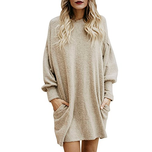 HGWXX7 Women Tops Long Sleeve Loose Solid Casual Dress Long Sweater With Pocket(S,Beige)