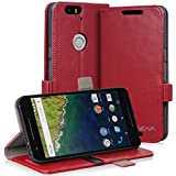 Vena [vFolio] Google Nexus 6P Case - Vintage Genuine Flip Leather Wallet Stand Cover with [Card Pockets] for Google Nexus 6P / Huawei Nexus 6P (Red / Black)