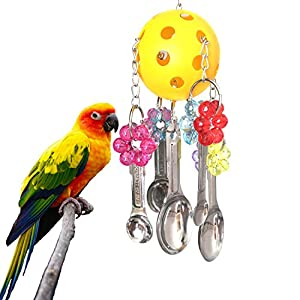BWOGUE Spoon Pull Bird Toys with Sweet Sound for Parrot Cage Toys African Grey Amazon Cockatiel Conure 20
